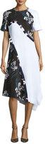 Cédric Charlier Short-Sleeve Asymmetric Floral-Print Dress, White