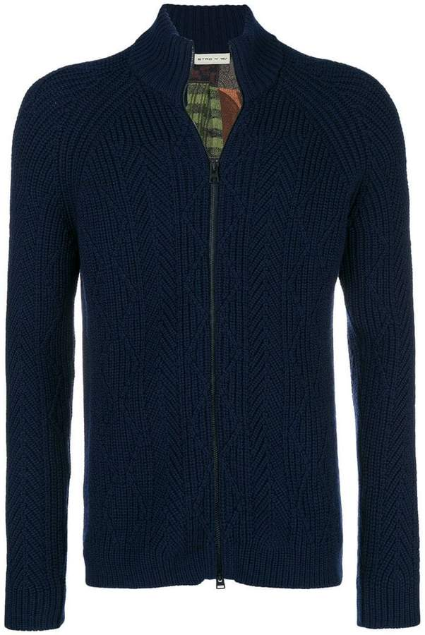 Etro cable knit zipped cardigan