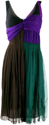 Prada Pre Owned Colour Block Pleated Dress
