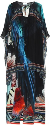 Camilla Embellished floral silk kaftan