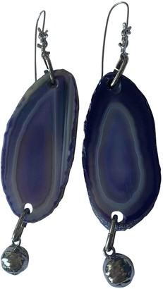 Saint Laurent Purple Metal Earrings
