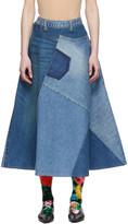Junya Watanabe Blue Denim Patchwork Skirt