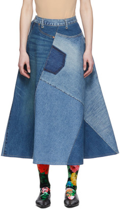 Junya Watanabe Blue Denim Patchwork Skirt