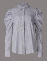 Autograph Pure Cotton Striped Puff Sleeve Shirt