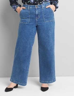Lane Bryant Signature Fit Wide Leg Jean - Medium Wash With Patch Pockets
