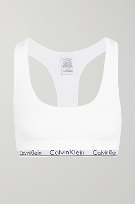 Calvin Klein Underwear Modern Cotton Stretch Cotton-blend Soft-cup Bra - White