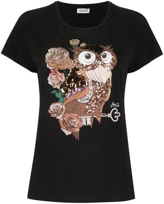 Liu Jo owl motif sequin-embellished T-shirt