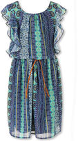 Speechless Flutter-Sleeve Aztec-Print Chiffon Dress - Girls Plus