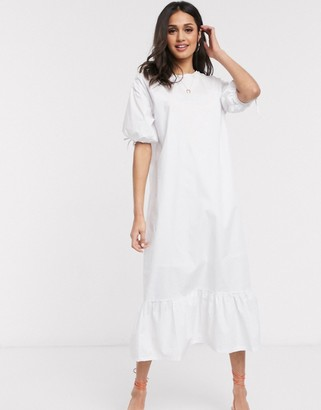 Daisy Street midaxi dress with peplum hem and volume sleeves in cotton