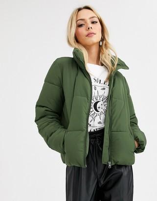 JDY padded jacket in green-Brown