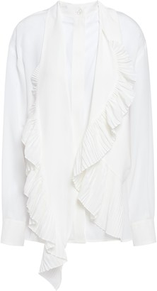 Givenchy Pleated Ruffled Silk Crepe De Chine Shirt