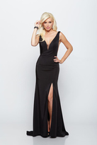 Milano Formals - Deep V-Neck High Slit Dress in Black E2044