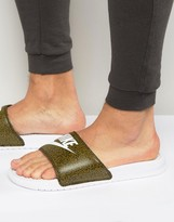 Nike Benassi Sliders In Green 631261-310