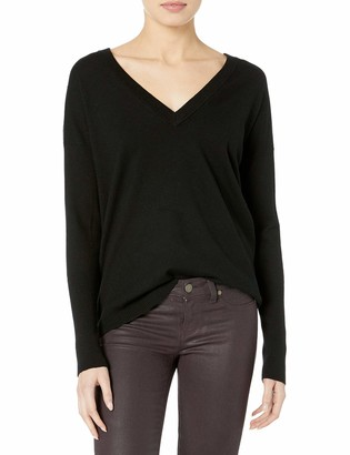 Kensie Women's Comfy Viscose Blend Keyhole Back V-Neck Sweater Top