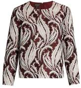 Giambattista Valli Leaf-jacquard round-neck top