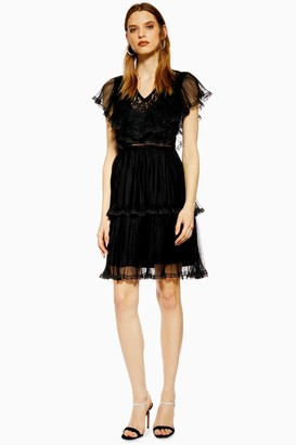 Lace & Beads Womens **Black Pleated Dress By Black