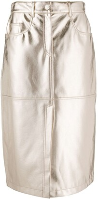 MSGM metallic A-line skirt