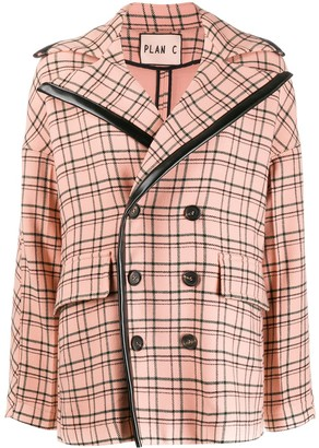Plan C Double-Breasted Check Coat