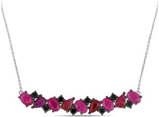 Black Diamond Concerto Vault 14K White Gold and Ruby Bar Necklace with 0.6 CT. T.W.
