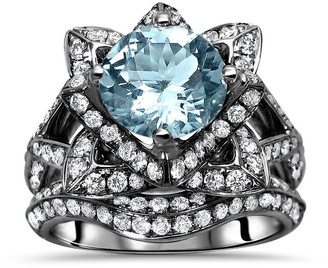 Overstock 14k Black Gold Plating Over White Gold Aquamarine and Diamond Lotus Flower Engagement Ring Bridal Set
