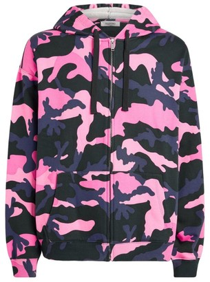 Valentino Camouflage Print Zip-Up Hoodie