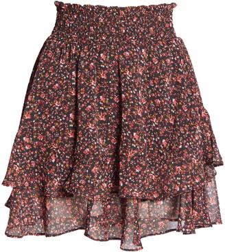 Socialite Floral Ruffle Miniskirt