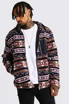 Borg Jacket In Aztec Pattern With Contrast Pocket