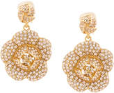 Oscar de la Renta gardenia pave drop earrings