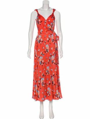 Self-Portrait Floral Print Pleated Dress w/ Tags Orange