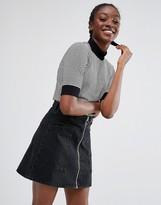 Monki Contrast Trim Stripe T-Shirt