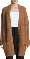 Vince Teddy Long Open-Front Cardigan, Dark Camel