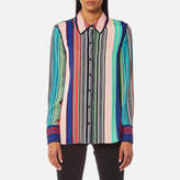 Diane von Furstenberg Women's Long Sleeved Collared Shirt Burman Stripe