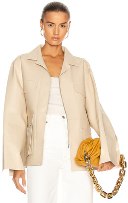 Totême Avignon Leather Jacket in Ivory | FWRD