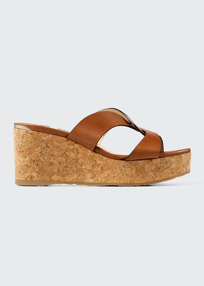 Jimmy Choo 75mm Atia Cork Crisscross Slide Sandals
