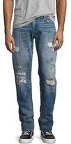 True Religion Geno Distressed Straight-Leg Jeans, Mended Misfit