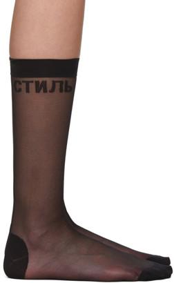 Heron Preston Black Sheer Socks