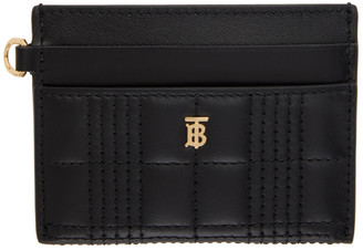 Burberry Black Quilted Monogram TB Card Holder