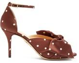 Charlotte Olympia Bow-embellished Polka-dot Satin Pumps - Womens - Dark Brown
