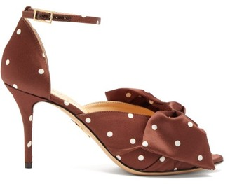Charlotte Olympia Bow-embellished Polka-dot Satin Pumps - Womens - Dark Brown