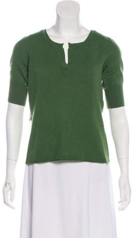 Magaschoni Short Sleeve Sweater Top Olive Short Sleeve Sweater Top