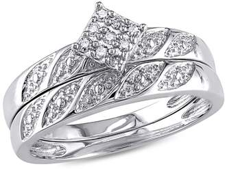 Concerto 0.10 CT. T.W. Diamond Studded Sterling Silver Bridal Ring Set