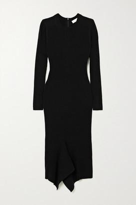 MICHAEL Michael Kors Asymmetric Ribbed Merino Wool-blend Midi Dress - Black