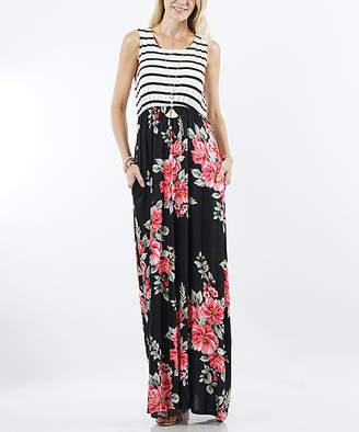 42pops 42POPS Women's Maxi Dresses Black - Black Stripe & Floral Sleeveless Pocket Maxi Dress - Women