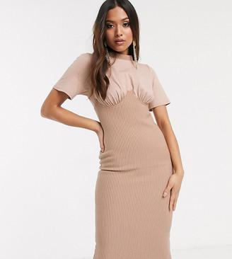 ASOS DESIGN Petite rib corset midi t-shirt dress in mink