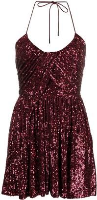 Saint Laurent Sequinned Pleated Mini Dress