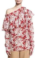 Robert Rodriguez Floral-Print One-Shoulder Ruffle Top, Crimson