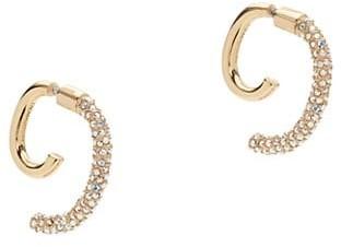 DEMARSON Luna 12K Goldplated & Pave Swarovski Crystal Convertible Swirl Earrings