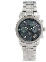Republic Women's Stainless Steel Glitz Mother-of-Pearl Chronograph Watch