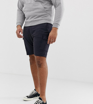 Brave Soul Plus slim fit cargo shorts in navy