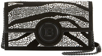 Balmain Swarovski Embellished Suede Phone Case Shoulder Bag